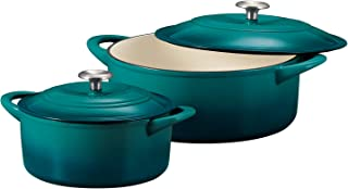 Tramontina 80131/679DS Enameled Cast Iron Covered Round Dutch Oven Combo, 2-Piece (7-Quart & 4-Quart), Teal