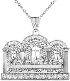 Exquisite Sterling Silver CZ The Last Supper Pendant Necklace