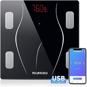 YOUNGDO Pèse Personne Impédancemètre, Balance Connectée, Balance Pèse Personne Connecté, 23 Mesures(IMC/Taux de Graisse/Poids Osseux, etc), 999 Utilisateurs, Charge USB, pour Android et iOS