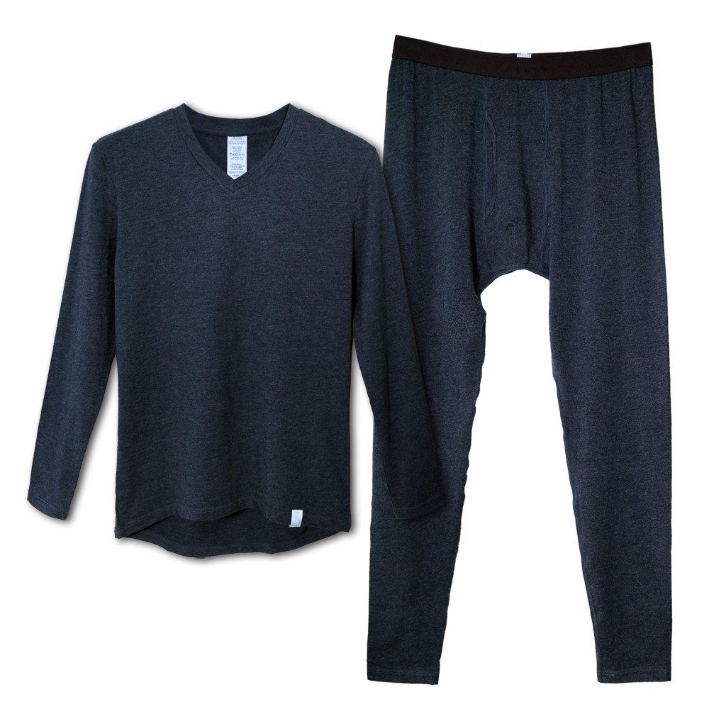 MUFT 简单生活系列 男士 棉莫代尔 舒适透气 保暖内衣 V领修身 秋衣秋裤套装