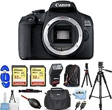 Canon EOS 2000D/Rebel T7 DSLR Camera Mega Bundle with Dual Pack 32GB Sandisk, Flash, Camera Sling Strap, 72