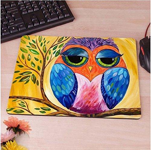 Uil geel kunstafbeelding muismat anti-slip, waterbestendig 220x180 verfraai uw bureau met deze elegante muismat