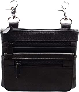 J.T.C-51970353-Black Leather Biker Boho Waist Loop Hip Pouch and Fanny Cross-Body Bag