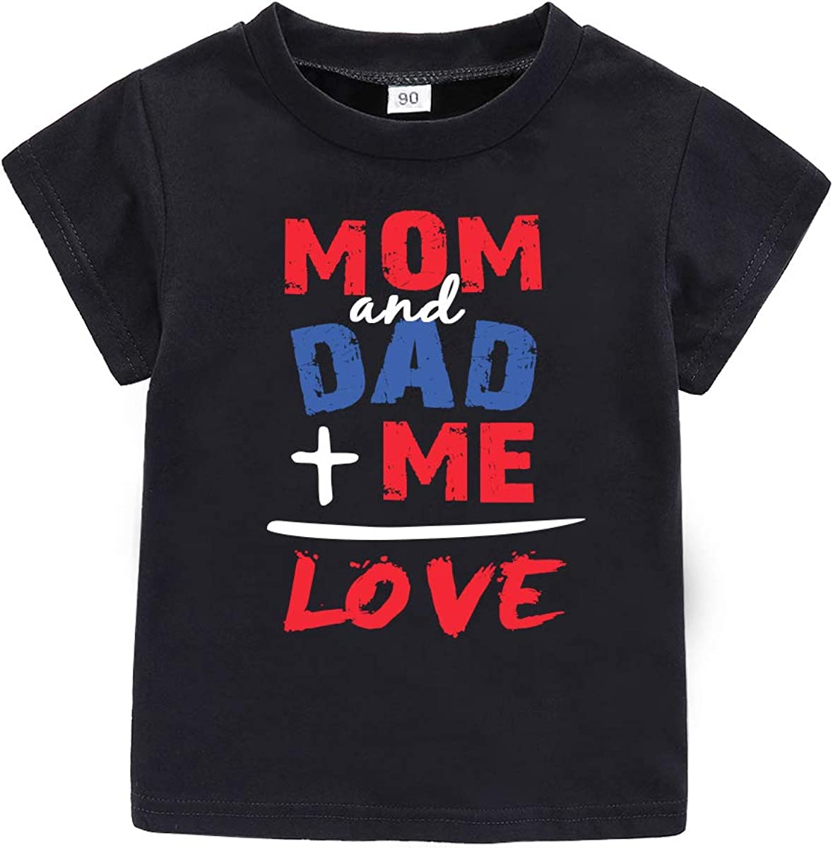 Toddler Baby Valentine's Day Outfit Mom and Dad +Me is Love Short Sleeve Kids T-Shirt
