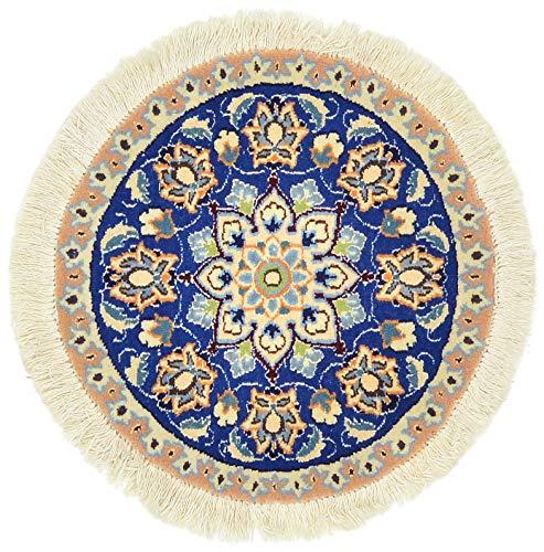 Oosterse tapijt NAIN diameter 47 cm origineel bloemenpatroon turquoise Beje