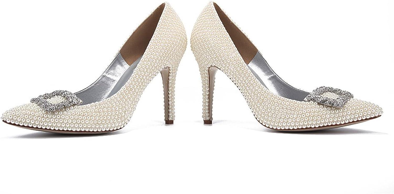 Lacitena Women's Crystal High Heels, Rhinestone Wedding Bridal shoes (Siza 5-10 US