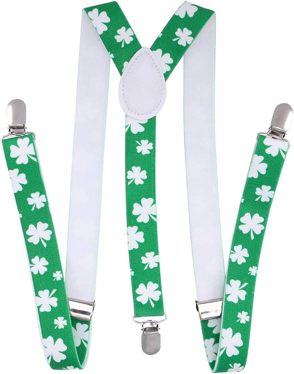 FENICAL 1pc unisex elastic suspenders St. Patricks Day Suspenders Stretchy Clover St. Patricks Day Suspenders Adjustable Three Clip for Men Women