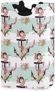 CCDMJ Panier À Linge Ancre De Mer Fleur Panier À Linge Floral Pliable Oxford Sac À Vêtements Sale Enfants Jouet Organisate...