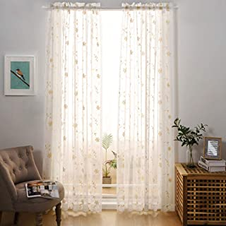 MysticHome Embroidery White Sheer Curtains 84 Inches Long, Rod Pocket Sheer Drapes for Living Room, Bedroom, 2 Panels, 52