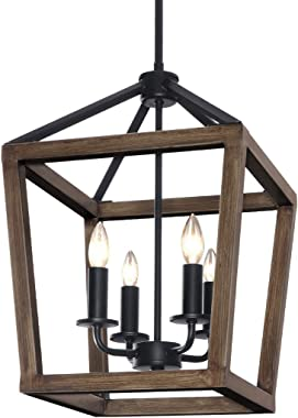 KingSo 4-Light Chandelier Rustic Metal Pendant Light, Adjustable Height Square Pendant Ceiling Hanging Light Fixture with Oil