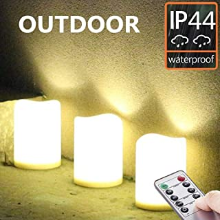 Set of 3 Outdoor IP44 Warm White LED Rainproof Waterproof Flameless Battery LED Pillar Candles with Remote and Timer, Plastic, Won't Melt, Weather Resistant Design 3 x 4