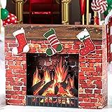 Shindigz Christmas Fireplace Cardboard Cutout Party Decoration Prop Standup Background Decor Scene Setter