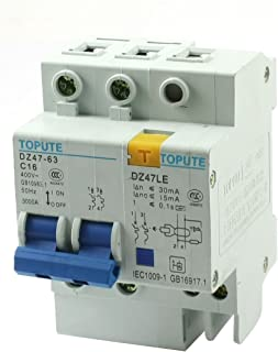 Aexit 35mm DIN Distribution electrical Rail Mounting On/Off Switch 4 Screw Teminals 2-Pole MCB Circuit Breaker Overload Protection AC400V 16A