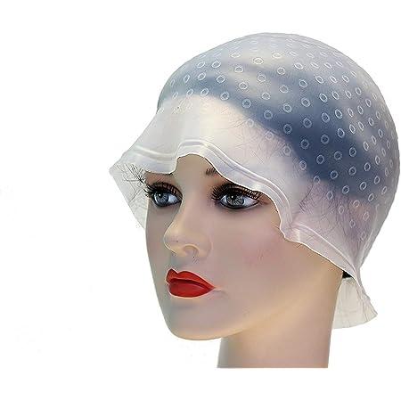 takestop® Gorro perforado de silicona reutilizable para mechas de sol, profesional, con ganchillo, tinte, peluquería