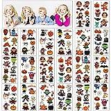 Xingsky Tatuajes Temporales Niños, TatuajesTemporalesNiñosHalloween, Halloween Pegatinas Tatuajes, Calabaza Murciélago Araña Maquillaje Fiesta Dibujos Animados Tatuaje (20 hojas)