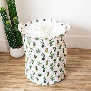 MJY Panier à linge, Cactus à cordon de serrage Panier à linge avec poignée Grande capacité repliable Facile à transporter ...
