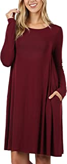 ClothingAve. Womens Rayon Round Neck Mid Length Tunic Dress Featuring Side Pockets