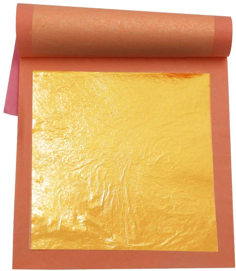 24 Karat Edible Gold Leaf Bargain sale 25 pc Pu by inches Booklets Super intense SALE .15 3.15 3