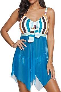 Chunmei Women One Piece Swimsuit Tummy Control Bathing Suit Tribal Retro Bathing Suit Dress Mesh Patchwork Print Fashion H...