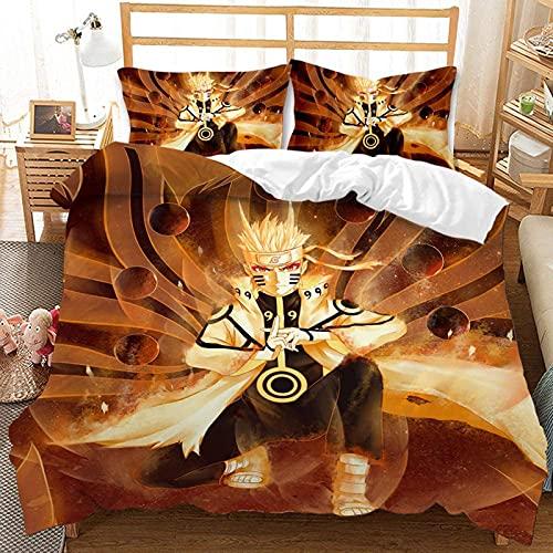 BMKJ Juego de ropa de cama infantil Naruto Anime de microfibra, juego de 3 piezas, impresión digital 3D, ropa de cama para niños, jóvenes, adolescentes (3TLG.200X200+2 * 50X75cm,C)