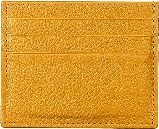 Hibate (Giallo) Uomo Donna Porta carte di credito Portafoglio sottile in pelle Blocco RFID Blocking Credit Card Holder Wallet