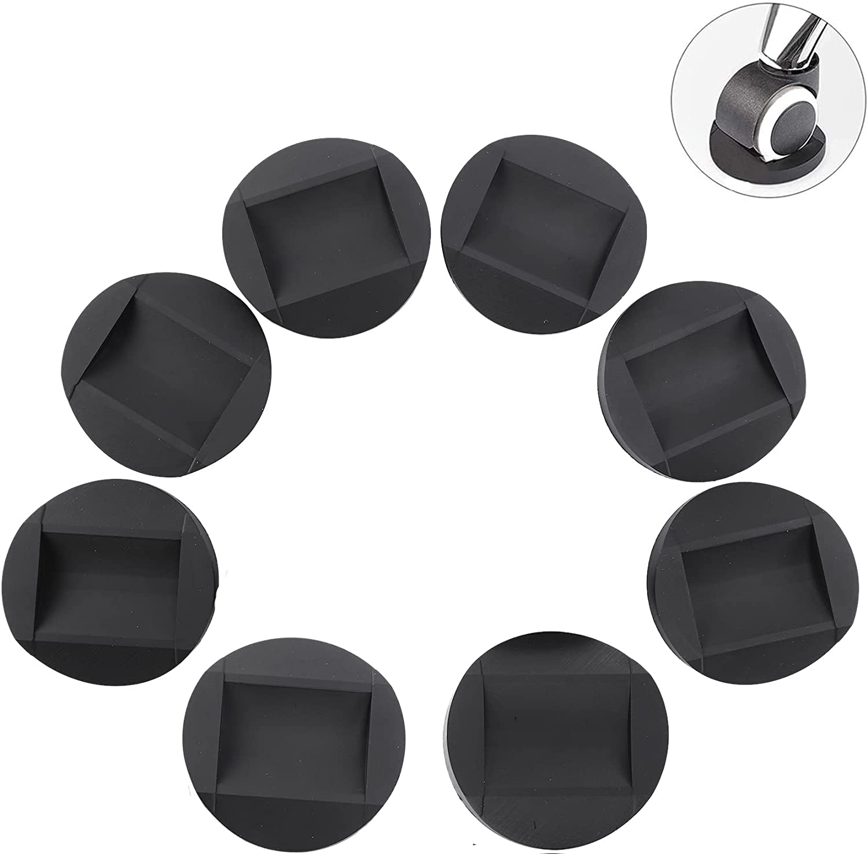 Coycoye 8 vasos para ruedas de muebles, topes de cama, almohadillas de goma antideslizantes, almohadillas protectoras para todos los suelos y ruedas de muebles, sofás, sillas, evita arañazos (negro)
