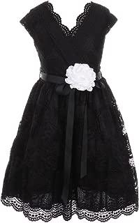 Cap Sleeve V Neck Flower Border Stretch Lace Corsage Belt Flower Girl Dress