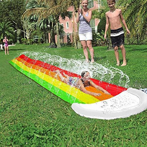 Toboganes acuáticos de césped FT de 14 pies, con rociador contra salpicaduras y almohadilla de choque inflable para niños, juegos patio trasero de verano, juguetes de agua al aire libre ,432*70cm