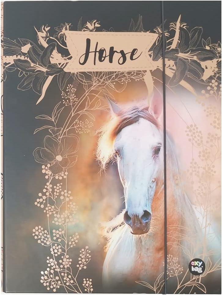Theonoi Bonito diseño de caballo laminado – Caja de coleccionista de alta calidad / caja de dibujo / caja de cartón con goma elástica / cinta de goma para niños – DIN A4 (caballo 02)