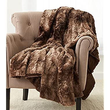 Pinzon Faux Fur Throw Blanket 50  x 60 , Alpine Brown