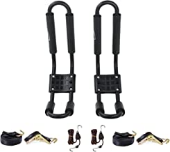 AA Products J-Bar Rack for Kayak Canoe Boat Carrier Roof Top Mount on Car SUV Truck Crossbar with 16 Ft Ratchet Lashing Straps & 10 Ft Ratchet Bow and Stern Tie Down Straps