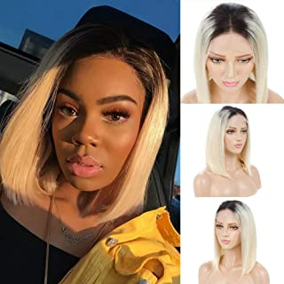 Choshim Hair Ombre 613 Color Shoulder Length Bob Front Lace Wig Remy Virgin Human Hair Two Tone Dark Roots 1B 613 Glueless Bob Cut Wig with Baby Hair 150% Density 8 Inches