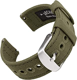 Archer Watch Straps - Canvas Quick Release Replacement Watch Bands (Faded Olive, 22mm)