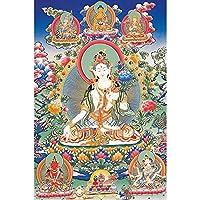 チベットタンカ アートマイクロブローポーチリビングルームぶら下がっている絵画タンカ台丸家の装飾絵画 (Color : フリー, Size (Inch) : 50x76cm No Frame)