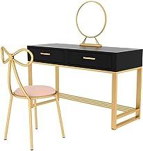 Makeup Desk with Drawers for Bedroom Wooden Make Up Table, Oval Adjustable Mirror Bedroom Set Makeup Cosmetics Dresser Fur...