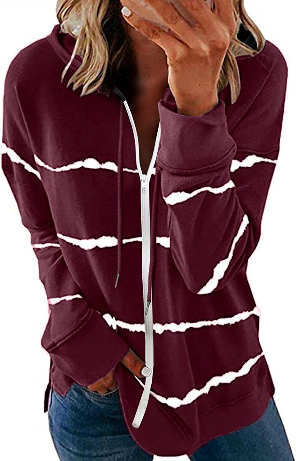 AODONG Sweaters for Women,Womens Zipper Casual Striped Printed Sweatshirt Drawstring Loose Long Sleeve Pullover Tops