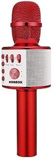 Micrófono Bluetooth Niños, BONAOK Micrófonos de Karaoke Inalámbricos 3 en 1, Viaje Fiestas Máquina de Karaoke KTV, altavoz de Micrófono para Reproductor de Karaoke, Compatible con Android iOS (rojo)