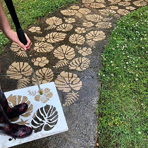 Driveway Art DIY Pressure Washer Stencil Designs - Concrete Jungle - Palms, Ferns and Hibiscus Flower for Walkways, Driveways, Concrete Patios - Creative Custom Styling, Easy to Use Curb Appeal!