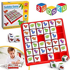 VATOS Dinosaur Sudoku Puzzle Game, Brain Games for Kids Sudoku Board Game Logic Game, Educational Toys for 6 7 8 9 10 11 12 Years Old Kids, STEM Toy Fun Travel Toys for Kids and Adult