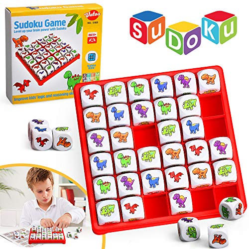 VATOS Dinosaurier Sudoku Brettspiel, Spaß Logik Sudoku Puzzle Spiele für Kinder ab 6 7 8 9 10+ Jahren, Pädagogisches Brain Teaser Brettspiel für Kinder und Erwachsene Fördern Logik und Argumentation