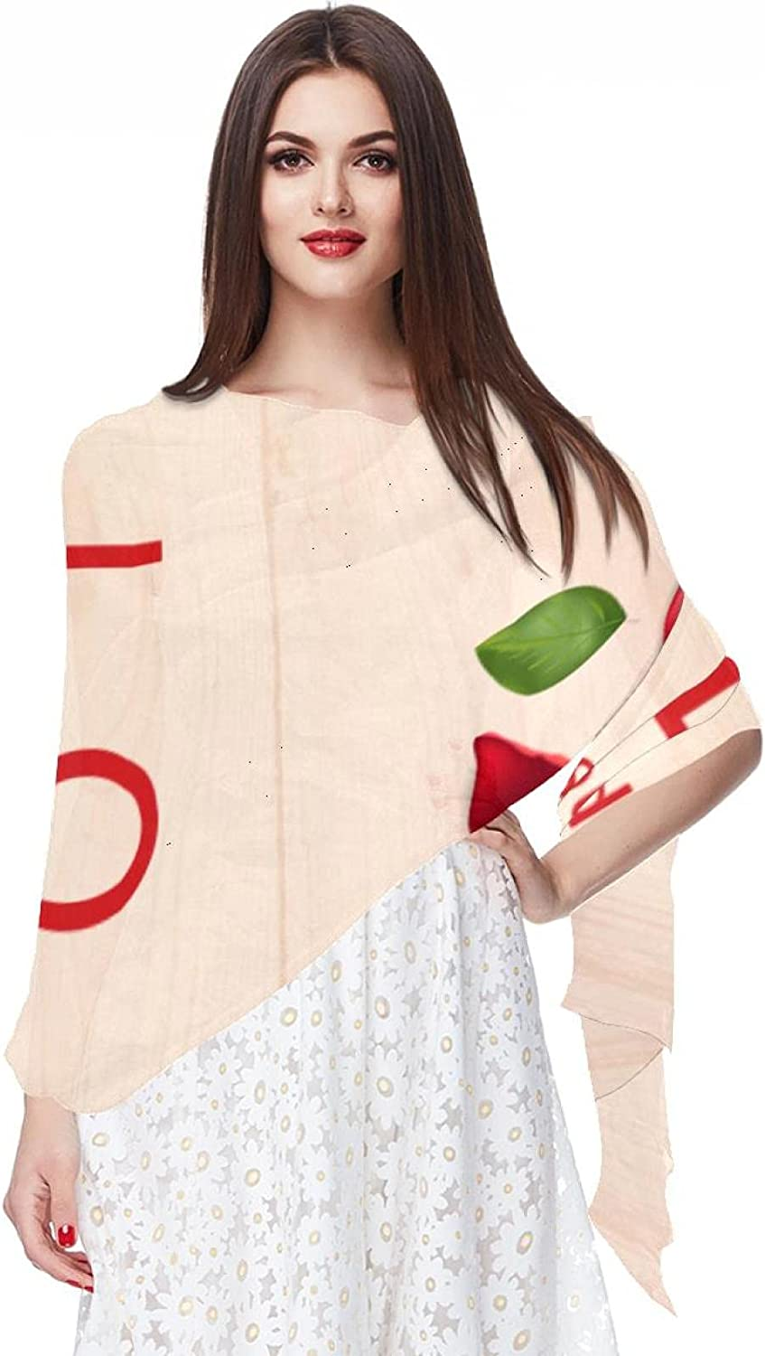 Scarfs for Women Lightweight Print Floral Pattern Scarf Shawl Fashion Scarves Sunscreen Shawls, Wooden With Love Word And Roses