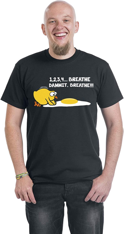 1,2,3,4.. Breathe!! Dammit M/änner T-Shirt schwarz Breathe