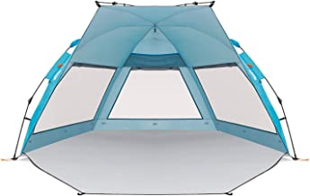 Easthills Outdoors Coastview Easy Setup Beach Tent UPF 50+ Double Silver Coating Extra Large Sun Shelter - Extended Zippered Porch Included