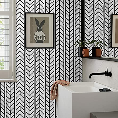 Peel and Stick Black and White Wallpaper Geometric Stick WallPaper 17.71 in X 118 in Removable Herringbone Self-Adhesive Modern Stripe Wall Paper Decorative Vinyl Film for Bedroom Walls 3D Wall Panels