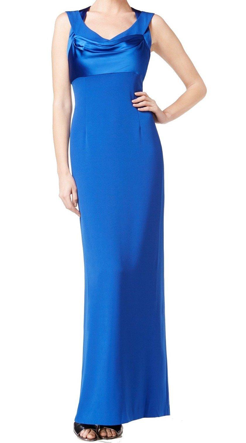 Available at Amazon: Calvin Klein Women's Satin Crepe Crisscross Column Gown (14 Byzantine) Blue