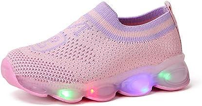 TWIFER Unisex Niños Zapatillas LED con 7 Colores Respirable Zapatillas Luces Luminosos Malla Casual Súper Ligeros Transpirable Transpirable Velcro Flashing Zapatillas