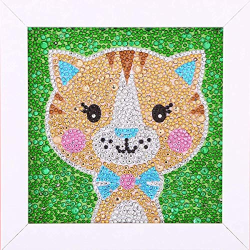 ALTRUB Funny DIY Mosaic Craft Kits - Brilliant 5d Diamond Painting Kits with Wooden Frame for Children up 6 Years Old (Lovely Cat, 7.1 x 7.1 inch)