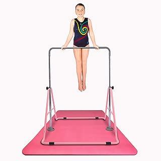 Safly Fun Expandable Gymnastics Bars Junior Training Bar Gymnastic Folding Horizontal Bars with Mat for Kids