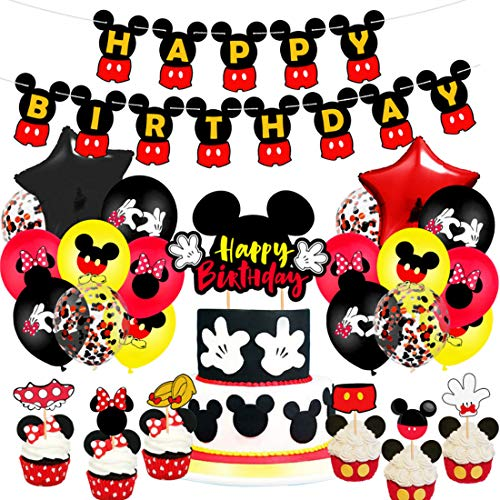 YUESEN Mickey Party Supplies Mickey y Minnie Themed 1st Birthday Party Supplies Feliz cumpleaños Banner Globos con adorno para tarta Set para decoración de cumpleaños 38 piezas