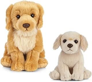 Living Nature Soft Toy Gift Bundle - Plush Golden Retriever Dog (20cm) & Puppy (16cm)